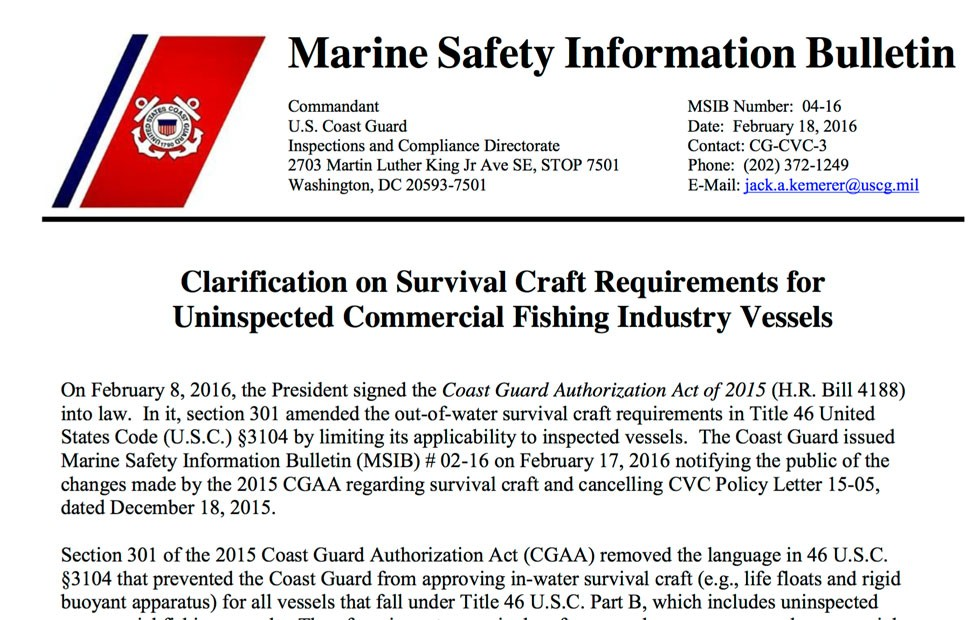 Cancelation of USCG Survival Craft Policy Letter 15-05 and Updated MSIB for Commercial Fishing Vessels